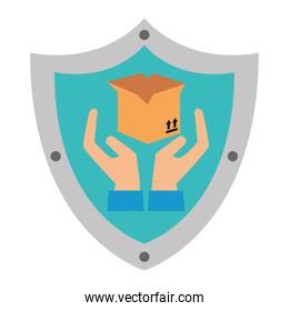 shield with box carton and hands protection