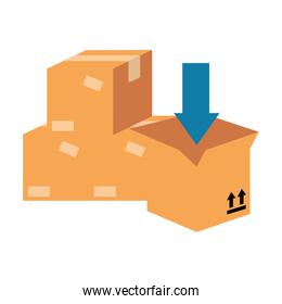 pile packing boxes carton with arrow