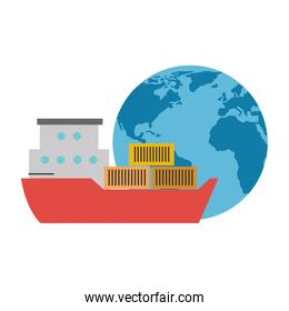 world planet earth with cargo ship