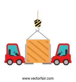 wooden box with crane hook and forklift