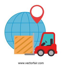 forklift with wooden box and planet