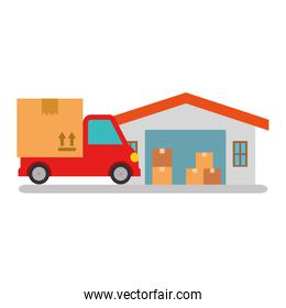 delivery service truck with warehouse