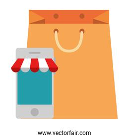 smartphone with parasol and shopping bag