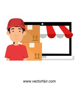 laptop with delivery worker and boxes