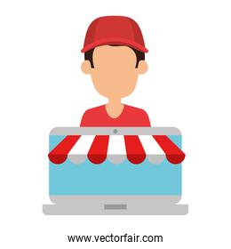 delivery worker with laptop