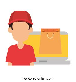 laptop with faceless delivery worker and shopping bag