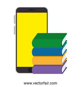 smartphone with pile text books