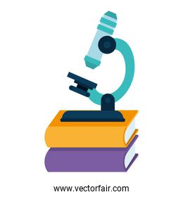 pile text books with microscope