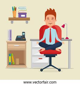 businessman practicing yoga in office chair