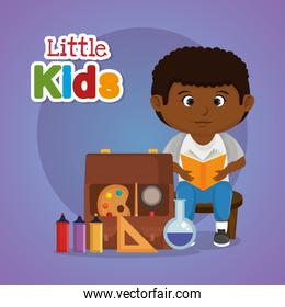 little afro schoolboy with education supplies