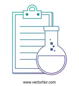 laboratory tube test flask and checklist
