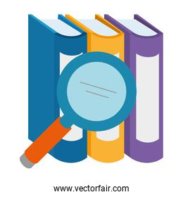 pile text books with magnifying glass