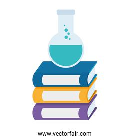 pile text books with tube test