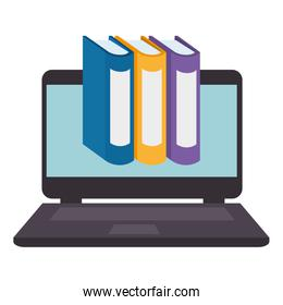 laptop with pile text books