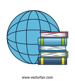 pile text books with planet