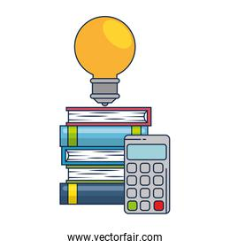 pile text books with bulb and calculator