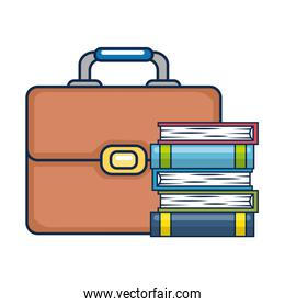 pile text books with suitcase