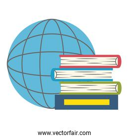 isolated pile of text books with planet