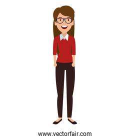 beautiful woman with glasses character