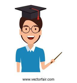 man student with hat graduation and pointer