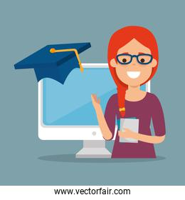 young woman with computer education online