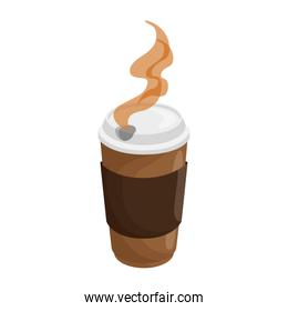 isolated hot coffee container