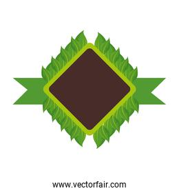 rhombus frame with leaves icon