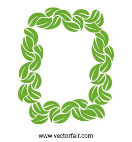 decorative frame with leaves icon