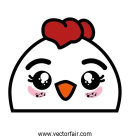 isolated cute chicken face