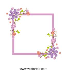 decorative frame with flowers icon