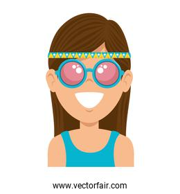Hippie woman cartoon