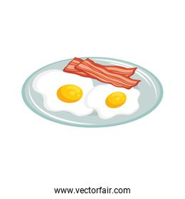 eggs with bacon breakfast over white