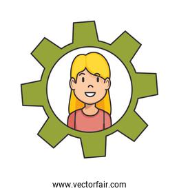 gear with woman face icon