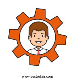 gear with man face icon