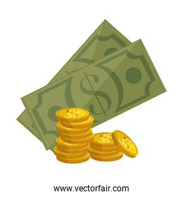 money coins and bills icon