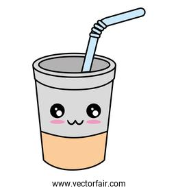 Coffee to go kawaii cute cartoon Vector ilustration