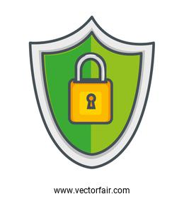 shield with safe secure padlock icon