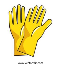 yellow rubber gloves isolated icon