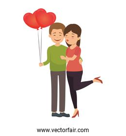 cute couple in love with balloons air