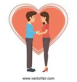 cute couple in love with heart