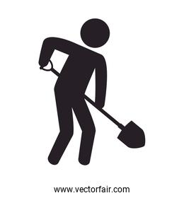 worker with shovel silhouette