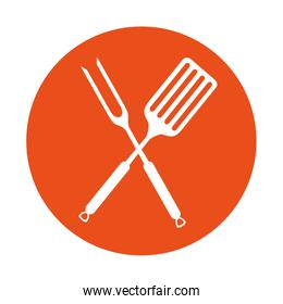 fork and spatula kitchen cutlery icon