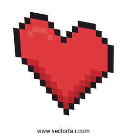 heart pixel isolated icon