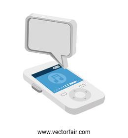 music player with speech bubble
