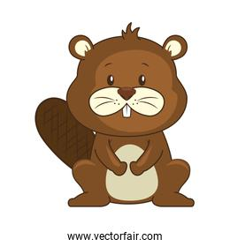 cute beaver character icon