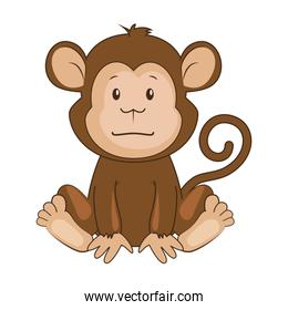 cute monkey character icon