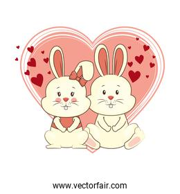 cute couple rabbits characters card