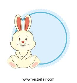 cute rabbit with lace character icon