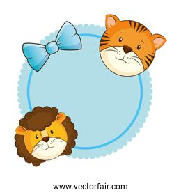 cute lion with tiger card