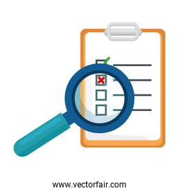 checklist clipboard with magnifying glass